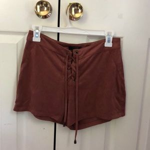 swayed dusty rose pink shorts